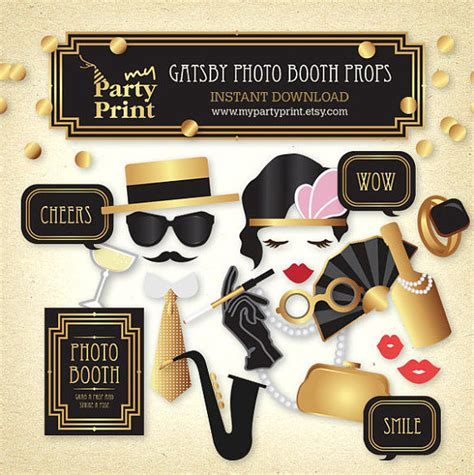 printable gatsby photo booth props gatsby photo booth props 20s party printable great