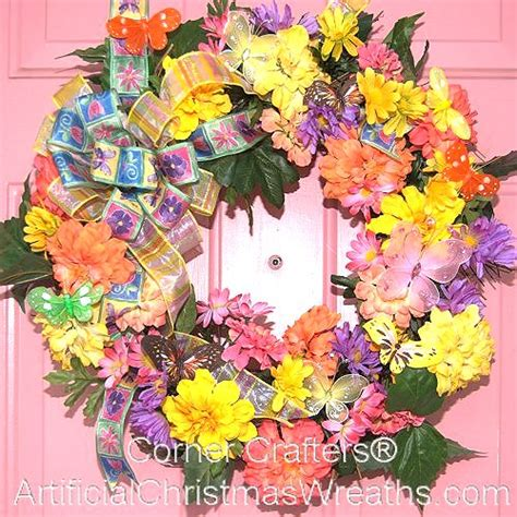 Spring Butterfly Wreath Artificialchristmaswreaths Com | spring butterfly wreath free shipping