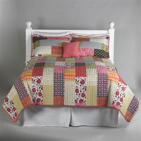 essential home coral boho patchwork 5 quilt set