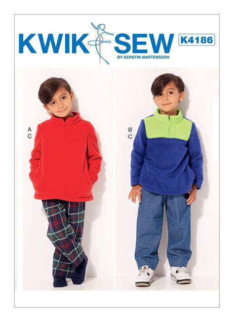 pattern review kwik sew 3601 kwik sew 4186 boys quarter zip jackets and elastic waist