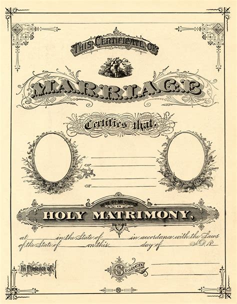 antique ephemera clip art printable marriage certificate