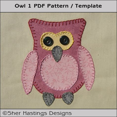 Owl Applique Template by Owl 1 Applique Template Pdf Pattern Diy Crafting