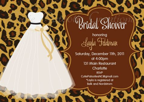 Animal Print Wedding Invitations by Bridal Shower Invitations Bridal Shower Invitations