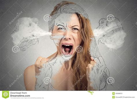 Nervous Breakdown by Angry Blowing Steam Coming Out Of Ears Stock
