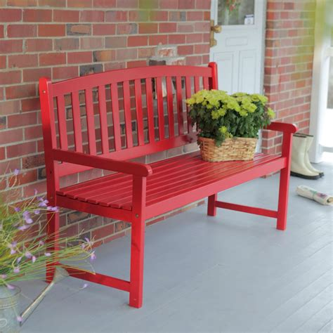 red patio bench 5 ft outdoor garden bench in red wood finish with armrest
