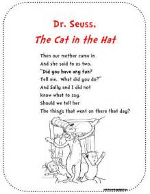 An excerpt from the cat in the hat for poetry binders