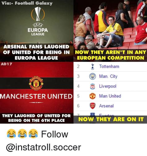 arsenal europa league via football galaxy e f europa league arsenal fans laughed