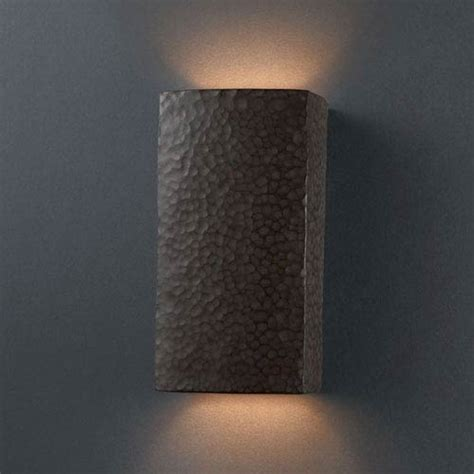 Small Wall Sconces Justice Design Ambiance Hammered Brass Small Rectangle Bathroom Wall Sconce On Sale