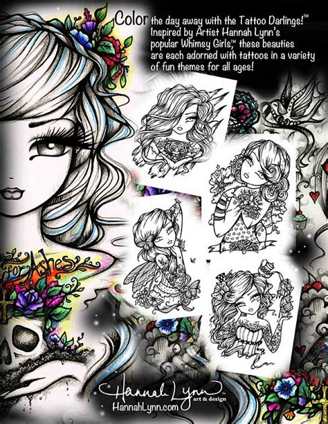 tattoo darlings an inky girls coloring book autographed paperback