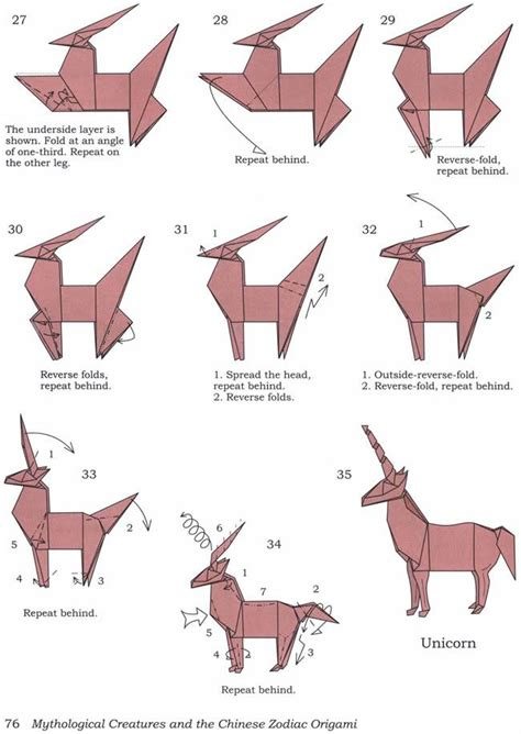 How To Make A Paper Unicorn - how to fold an origami unicorn diy tibet