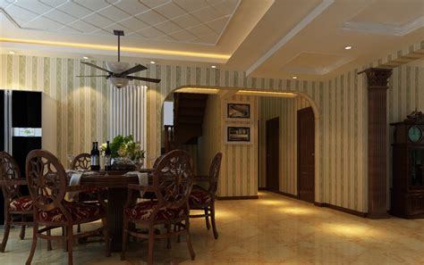 ceiling fan dining room with raised panel ceramic