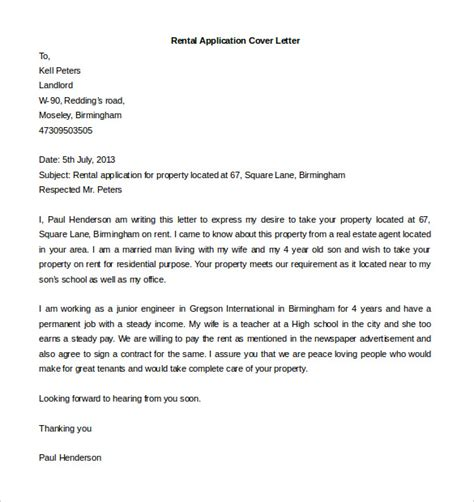 Cover Letter For Rental Application free cover letter template 52 free word pdf documents