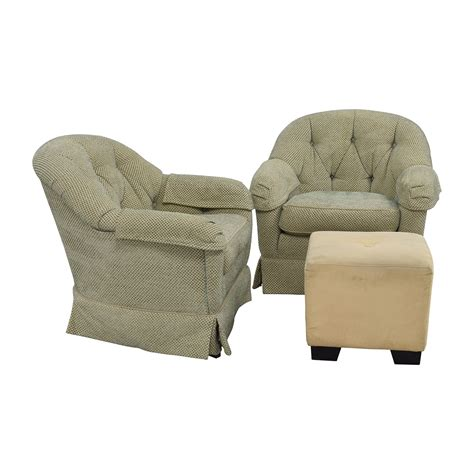 club chair with ottoman 90 off sherrill furniture sherrill furniture skirted