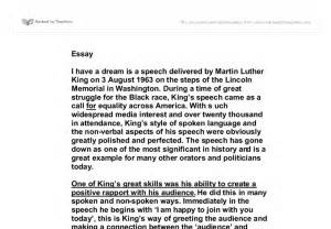 Essay About Martin Luther King by Martin Luther King Essay On His Speech Quot I A Quot Gcse Marked By Teachers