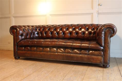 Sold 19c Three Seater Leather Chesterfield Antique Pre Owned Chesterfield Sofa