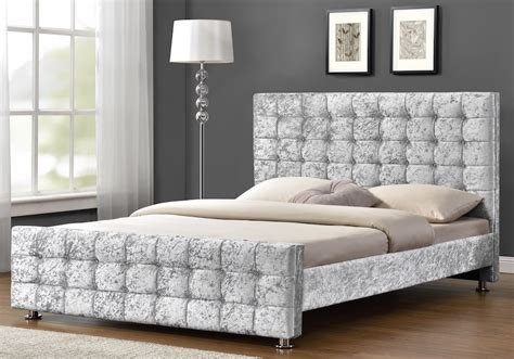 boston crushed velvet diamante silver bed frame