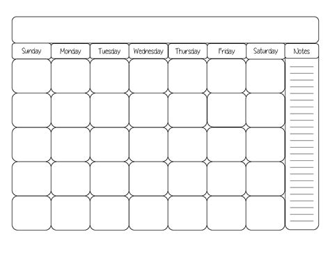8x10 calendar template 7 best images of printable blank day calendar template