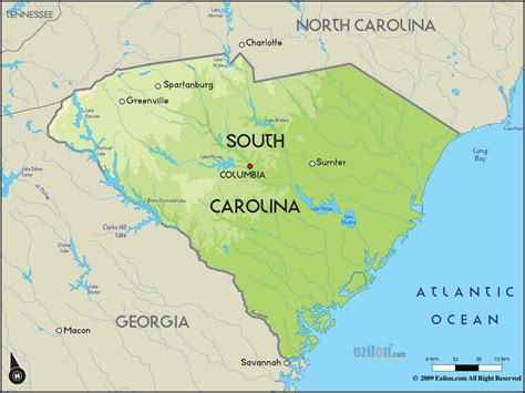 map usa carolina geographical map of south carolina and south carolina