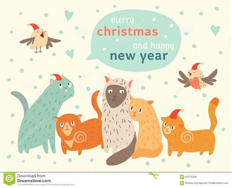new year date and animal happy and happy new year card with cats and