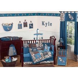 surf blue and brown crib bedding set by sweet jojo designs
