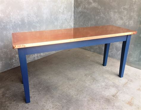 handmade natural copper top kitchen dining table