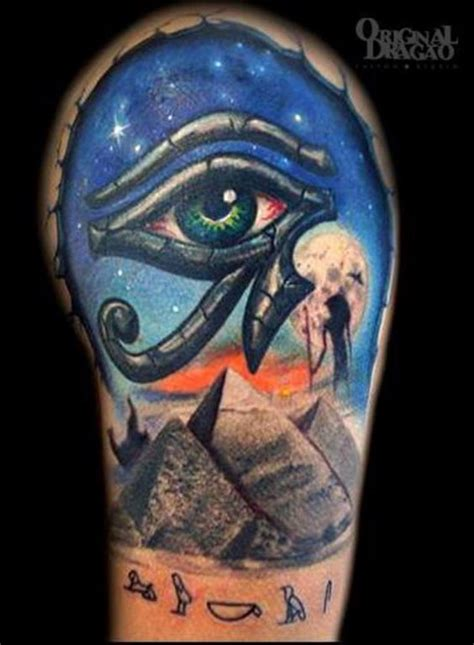 horus tattoo classic horus eye in pyramid on belly