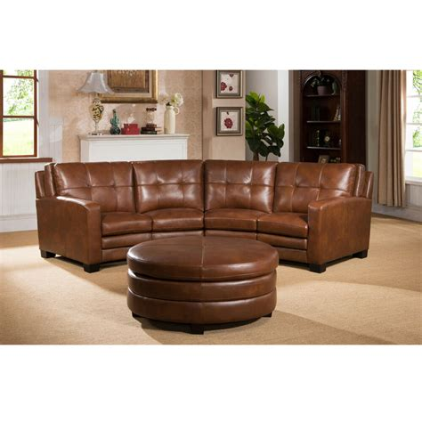 Curved Sectional Couches oakbrook brown curved top grain leather sectional sofa and