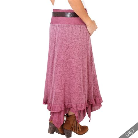 womens stretch jersey hitched up skirt hippie boho