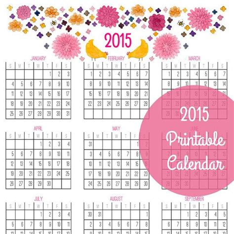 printable year at a glance calendar 2015 8 best images of calendar 2016 printable year at a glance