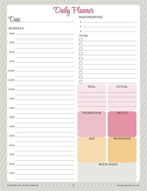 printable daily planning pages free printable worksheet daily planner for 2016 sage