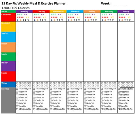 Nick S Fitness Stuff 21 Day Fix Meal Exercise Planners 21 Day Fix Meal Plan Template