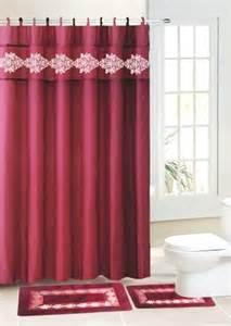 15pc burgundy design bathroom contour bath mat set rug