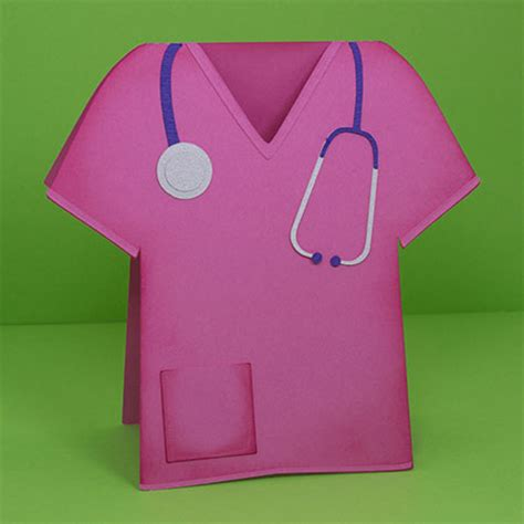 nursing card template scrubs shaped card
