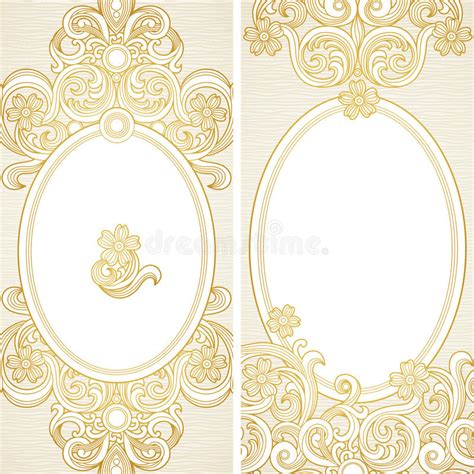 ornate card templates vintage ornate cards with flowers and curls stock vector