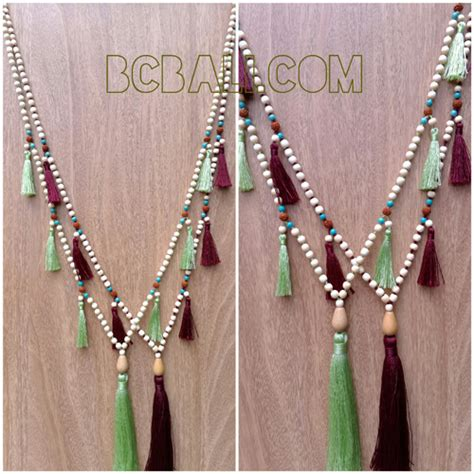wooden bead necklace designs wooden mala tassels necklaces fashion wooden