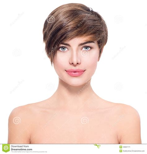 beautiful young woman with short hair stock photo image