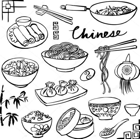 sketch of asian food coloring coloring pages