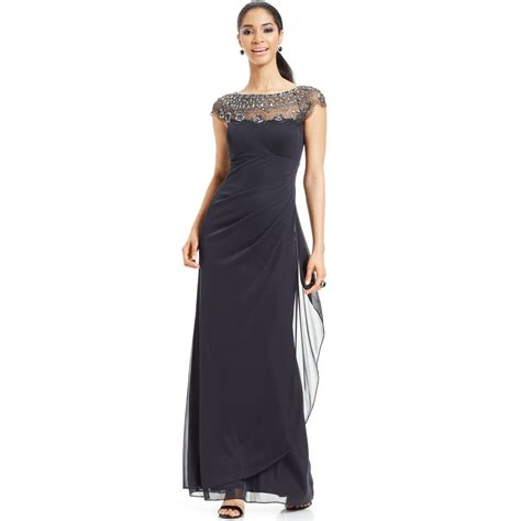 Xscape Cap Sleeve Illusion Beaded Gown In Gray Charcoal