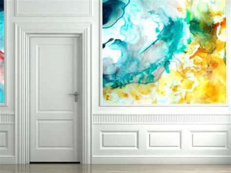unique wall art with watercolor wallpaper interiorholic com