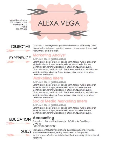 a resume to human resource agents that is simple