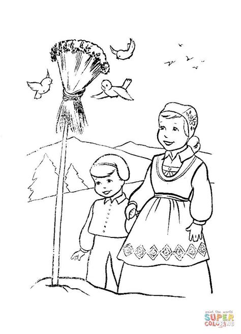 Norway Christmas Coloring Page | christmas in norway coloring page free printable