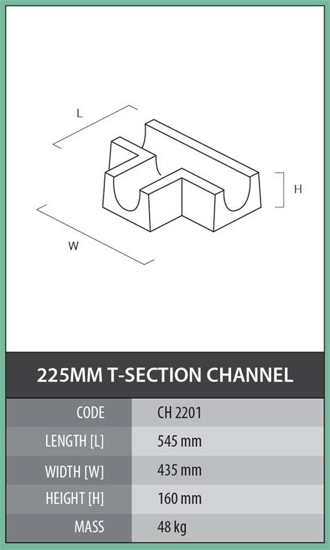 section code u of t 225mm t section channel cementile products