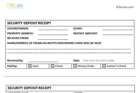 template receipt of deposit receipt templates dotxes
