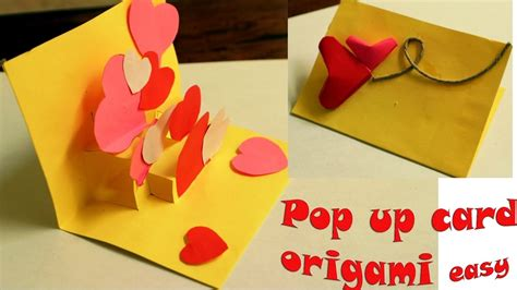 membuat origami i you pop up card tutorial
