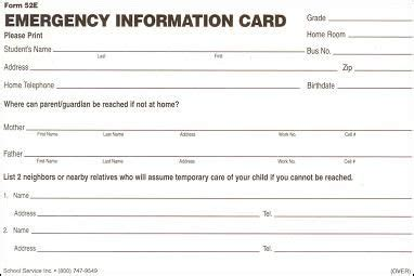 contact information card template printable emergency contact cards school emergency card
