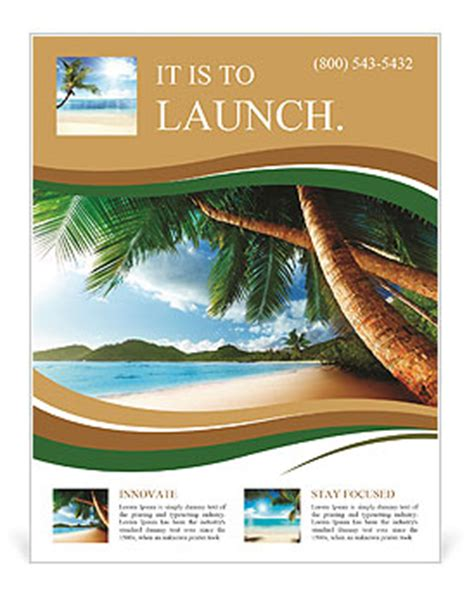 dream beach vacation flyer template design id 0000008705