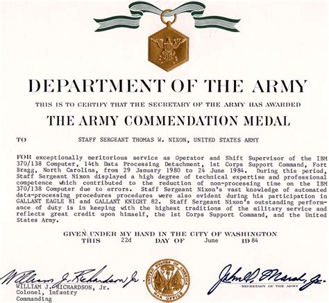 commendation certificate template army commendation medal
