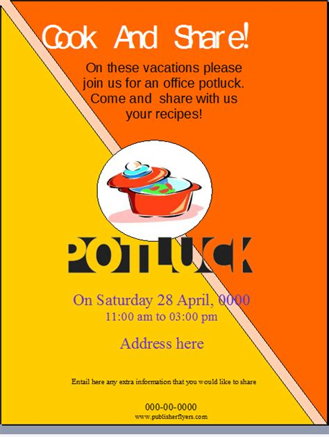 Potluck Flyer Template by The Gallery For Gt Office Potluck Flyer