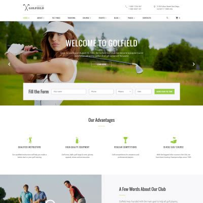 bootstrap themes free golf web site templates web page templates