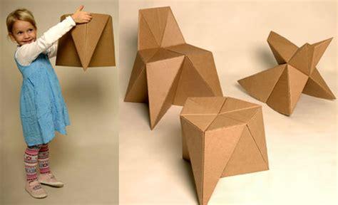Cardboard Origami - foldschool diy origami style cardboard furniture for